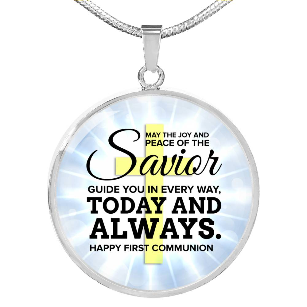 May The Joy Circle Pendant Necklace Stainless Steel or 18k Gold 18-22