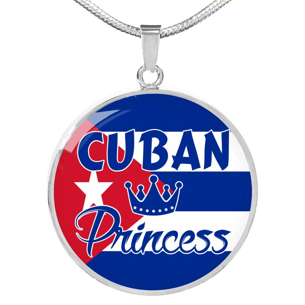 Cuban Princess Circle Pendant Necklace Stainless Steel or 18k Gold 18-22""