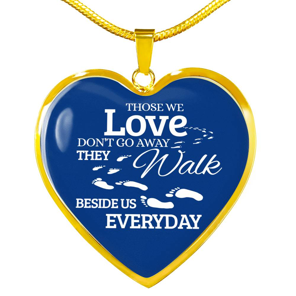 "Those We Love Don't Go Away Footprints Stainless Steel or 18k Gold Heart Pendant Necklace 18""-22"""