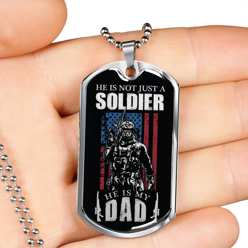 "Soldier Dad, Dog Tag Stainless Steel or 18k Gold w 24"" Chain, Gift for Military Dad"