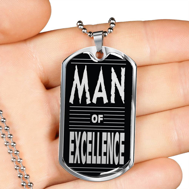 "Man of Excellence Dog Tag Stainless Steel or 18k Gold w 24"" Chain Gift for Dad - Express Your Love Gifts"