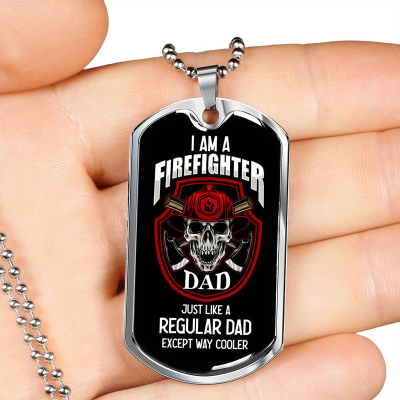 Firefighter Gift Firefighter Dad Dog Tag Stainless Steel or 18k Gold 24 - Express Your Love Gifts