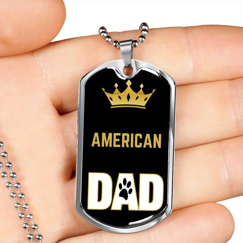 "Cat Dad Gift American Cat Dad Necklace Stainless Steel or 18k Gold Dog Tag 24"" Chain - Express Your Love Gifts"