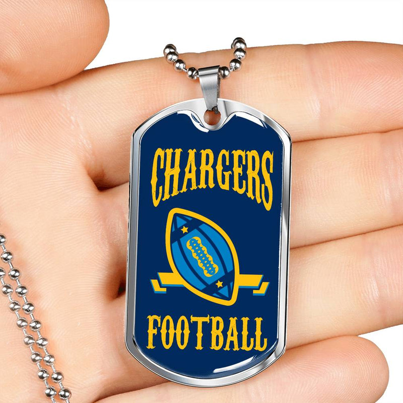"Chargers Football Dog Tag Stainless Steel or 18k Gold Finish 24"" Chain"