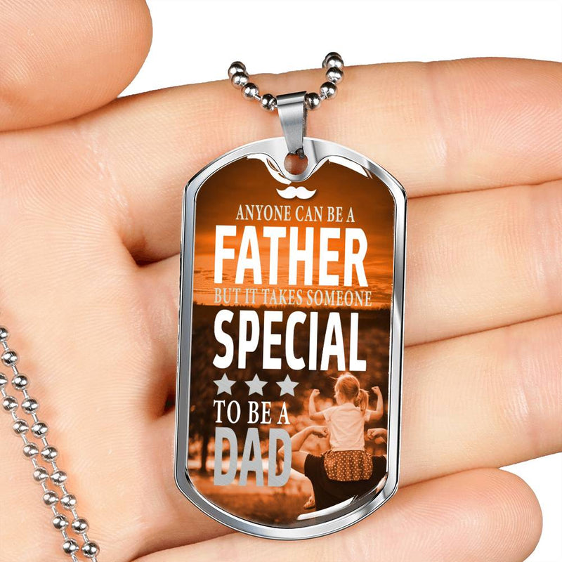 "Special Dad Dog Tag Stainless Steel or 18k Gold 24"" Ball Chain dad gift - Express Your Love Gifts"