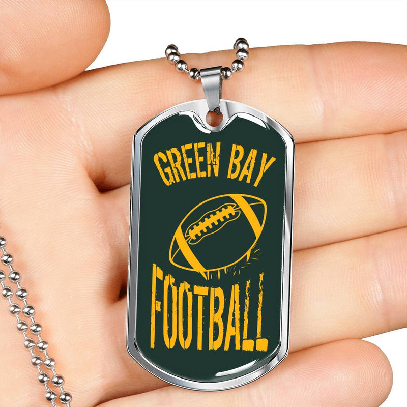"Green Bay Fan Necklace, Dog Tag Stainless Steel or 18k Gold Finish 24"" Chain"