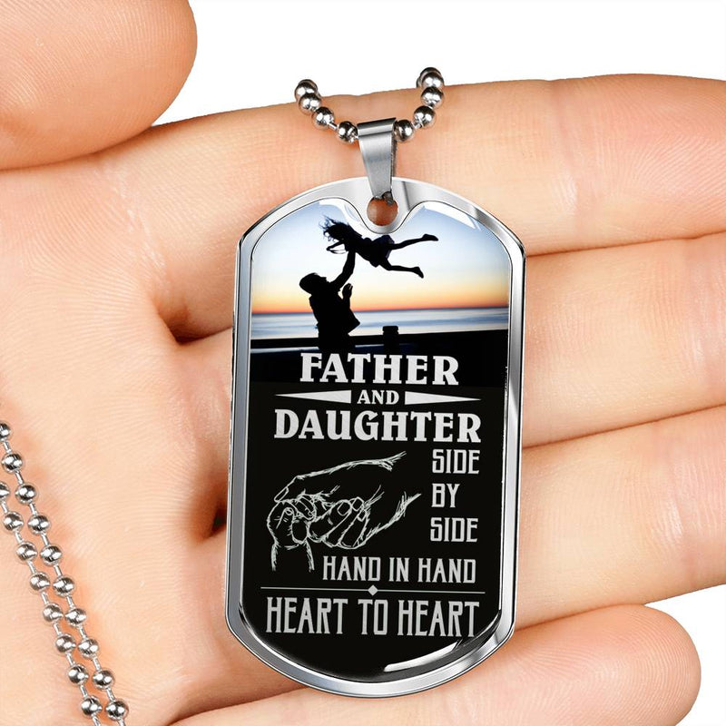 "Father and Daughter Dad Dog Tag Stainless Steel or 18k Gold w 24"" Chain Gift for Dad - Express Your Love Gifts"