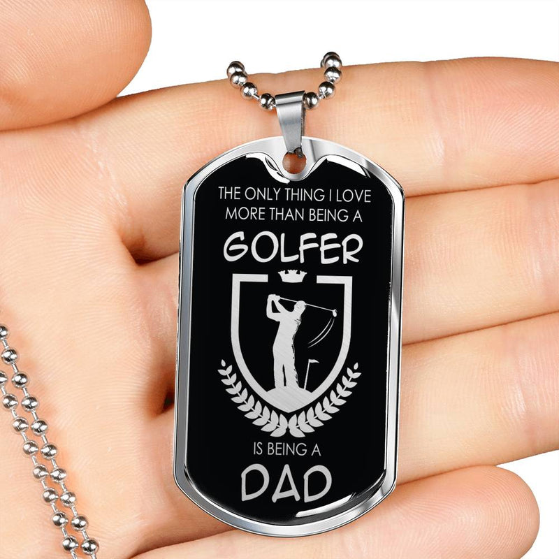 "Golfer Dad Golf Dog Tag Stainless Steel or 18k Gold w 24"" Chain Golf Gift for Dad - Express Your Love Gifts"