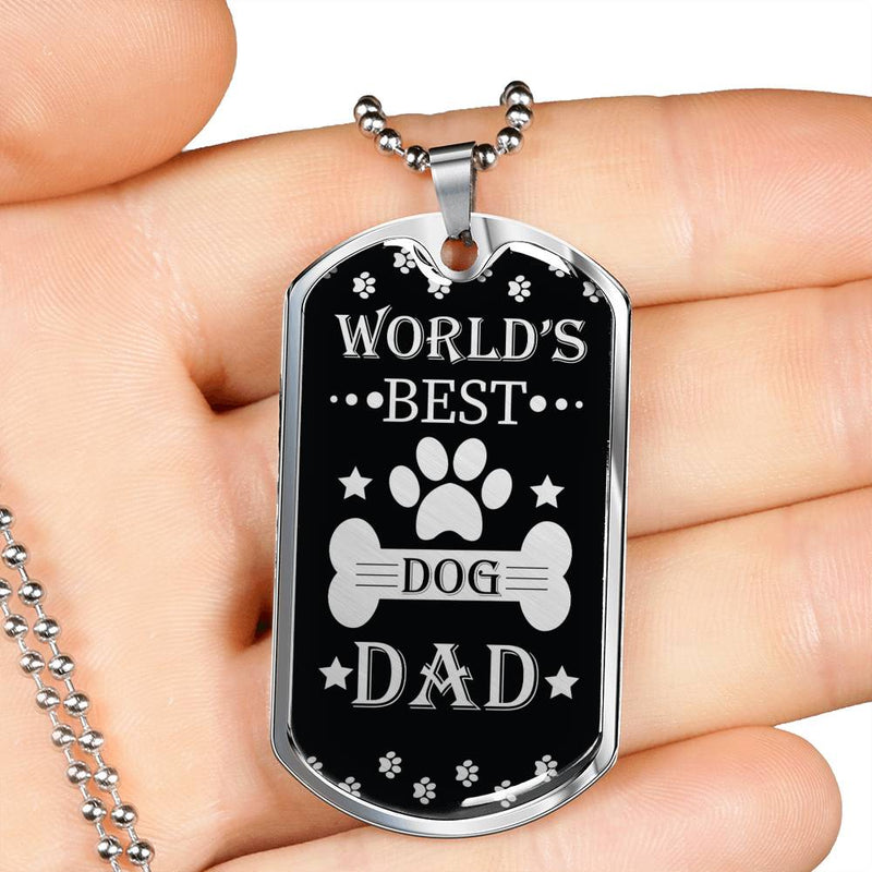 "Dog Dad Dog Tag Stainless Steel or 18k Gold w 24"" Chain Gift for Dad - Express Your Love Gifts"
