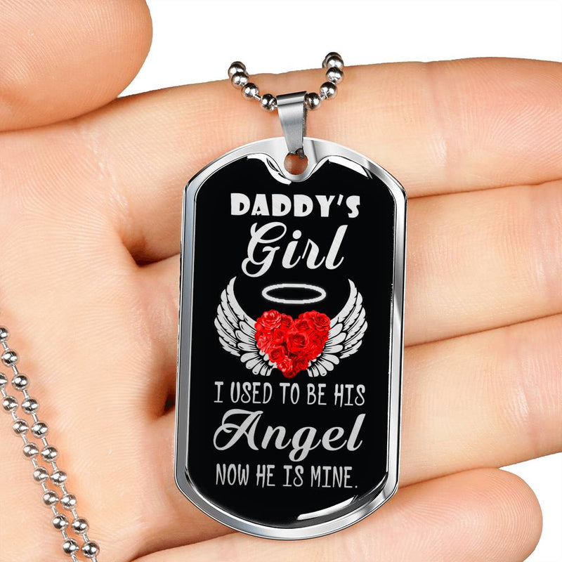 "Memory of DadFather Memorial Dad Remembrance gift Stainless Steel or 18k Gold w 24"" Chain - Express Your Love Gifts"