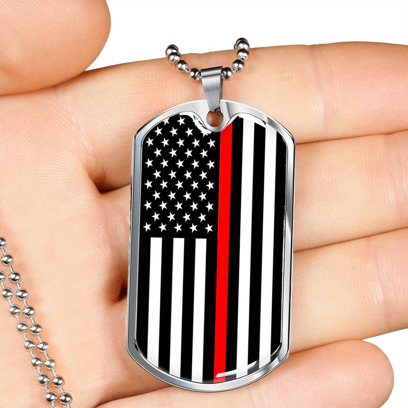 "Thin Red Line American Firefighter Dog Tag Stainless Steel or 18k Gold Finish 24"" Ball Chain"