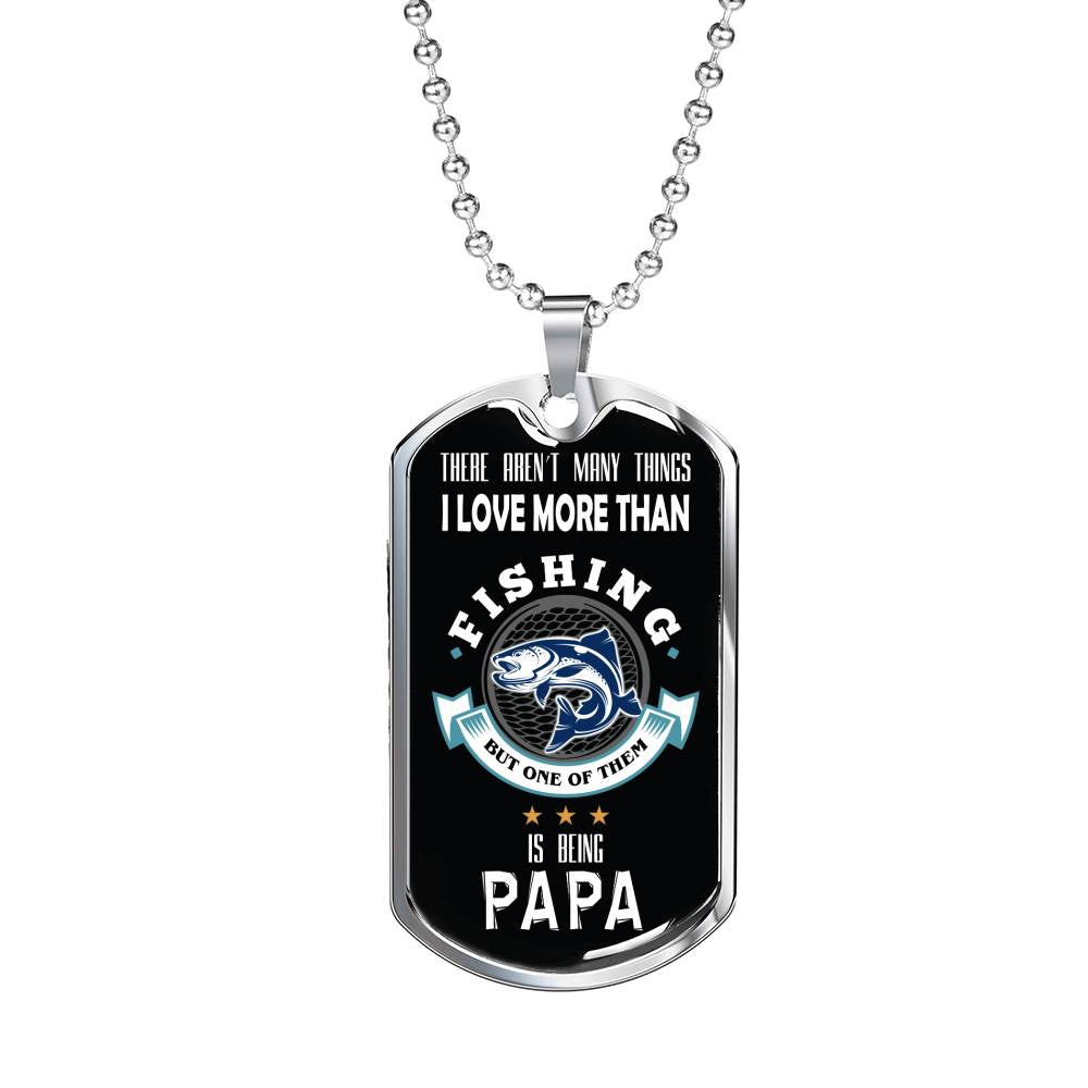 "Fishing PapaDog Tag Stainless Steel or 18k Gold w 24"" Chain Gift for Fishing Dad - Express Your Love Gifts"