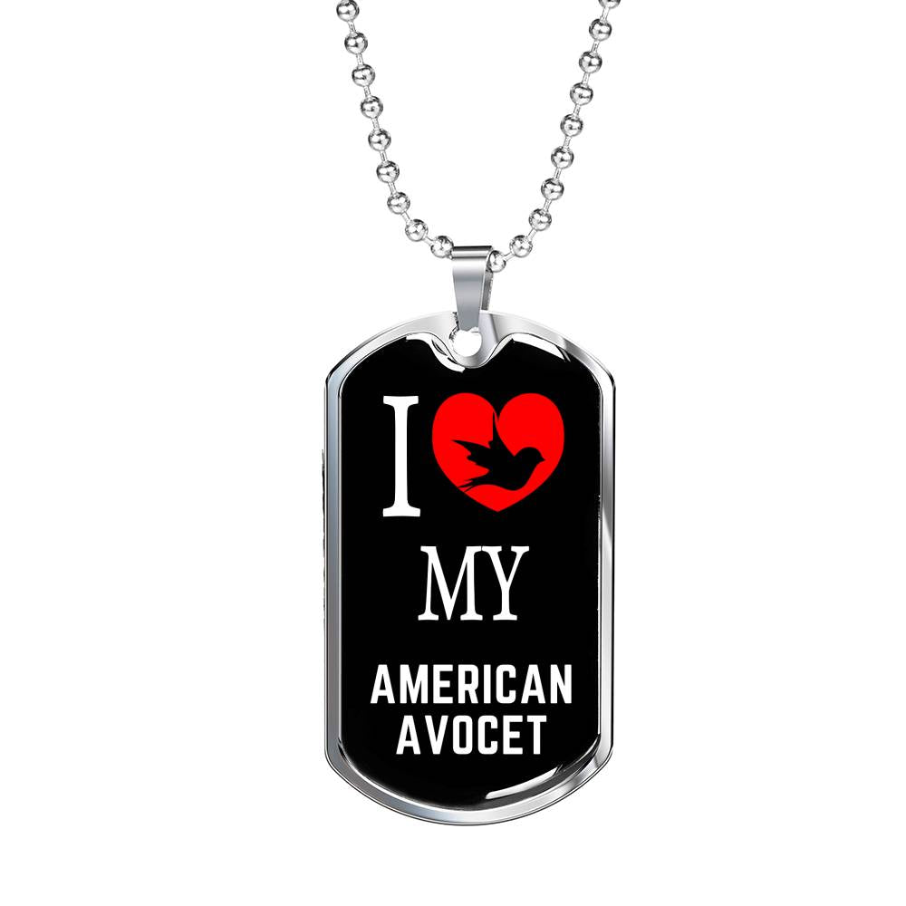"Bird Owner Gift American Avocet Necklace Stainless Steel Or 18k Gold Dog Tag 24"" Chain - Express Your Love Gifts"