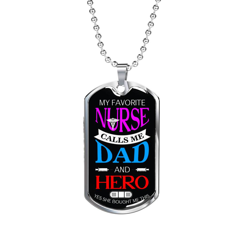 "Nurse Dad Nurse Necklace Stainless Steel or 18k Gold Dog Tag w 24"" - Express Your Love Gifts"