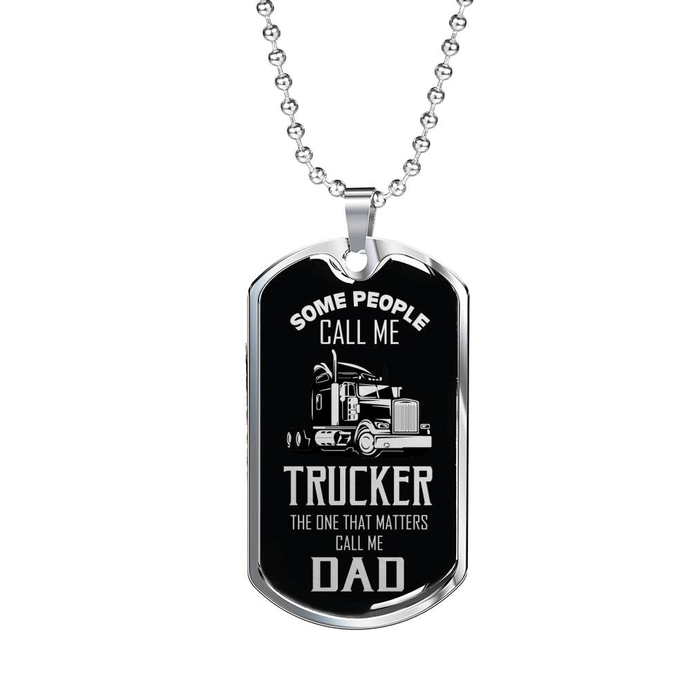 "Trucker Dad Dog Tag Stainless Steel or 18k Gold w 24"" Chain Gift For Trucker - Express Your Love Gifts"