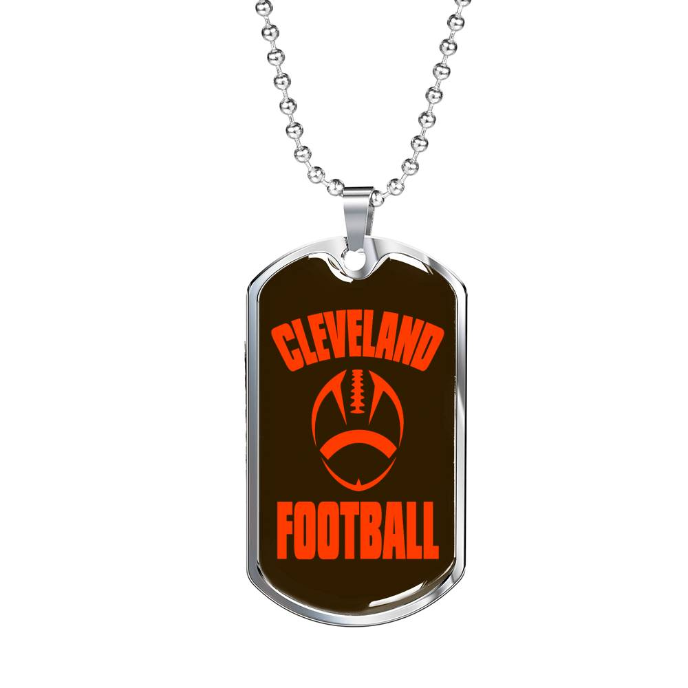 "Cleveland Fan Necklace, Dog Tag Stainless Steel or 18k Gold Finish 24"" Chain"