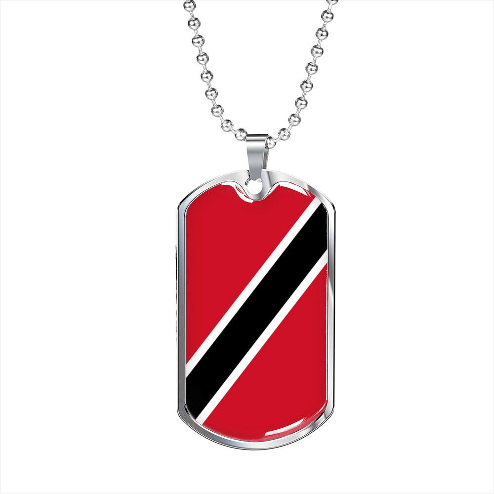 Trinidad and Tobago Flag Necklace Trinidad and Tobago Flag Stainless Steel or 18k Gold Dog Tag 24""