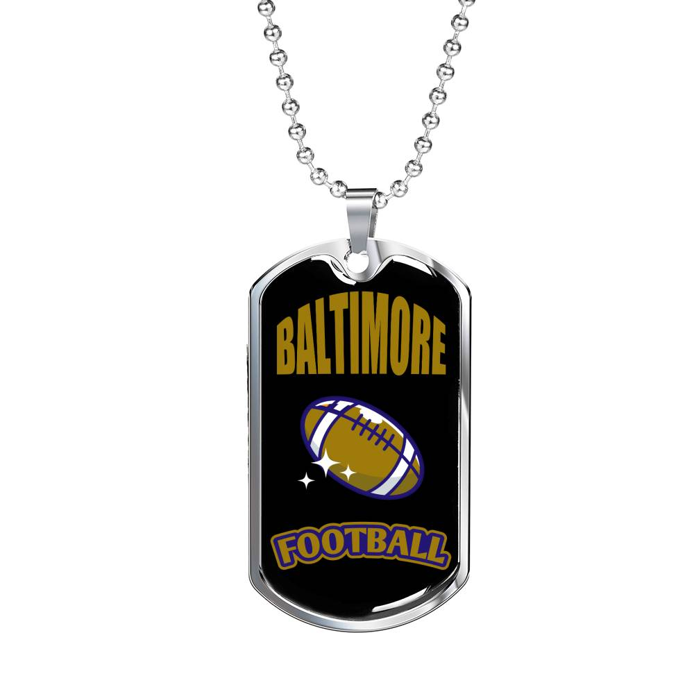 "Baltimore Dog Tag Fan Necklace, Dog Tag Stainless Steel or 18k Gold Finish 24"" Chain"""