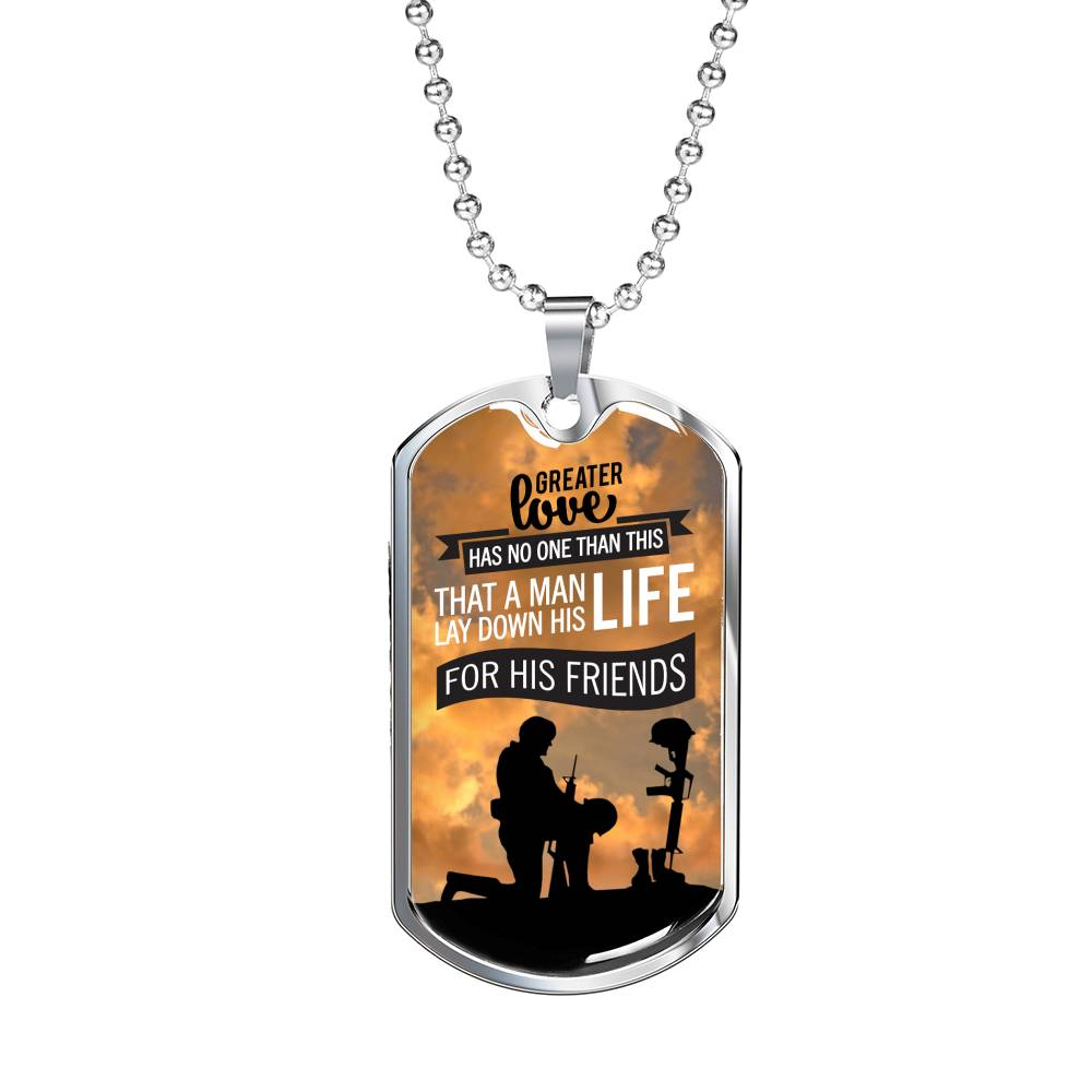 Patriotic Soldier Gift, No Greater Love Bible Dog Tag Stainless Steel or 18k Gold 24