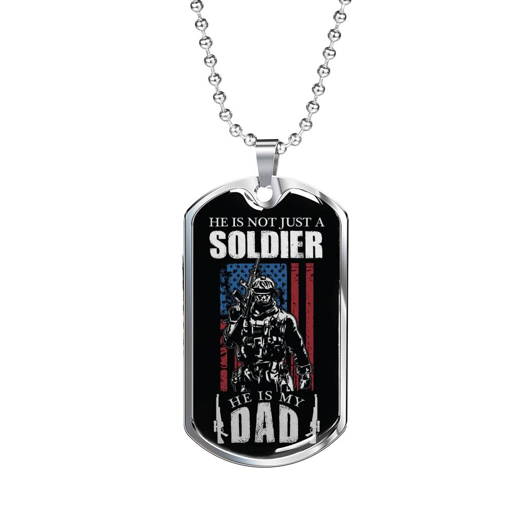 "Soldier Dad Dog Tag Stainless Steel or 18k Gold w 24"" Chain Gift for Military Dad - Express Your Love Gifts"
