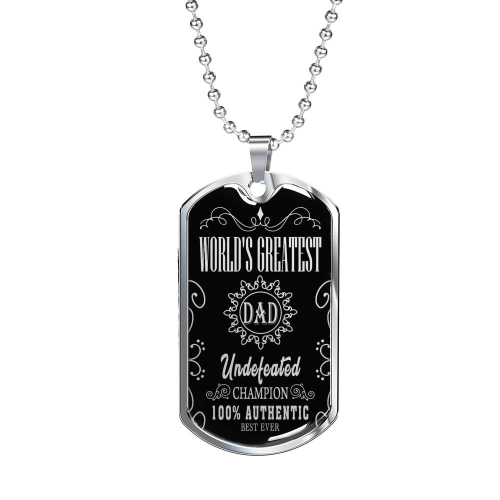 "World's Greatest Dad Dog Tag Stainless Steel or 18k Gold w 24"" Chain Gift for Dad - Express Your Love Gifts"