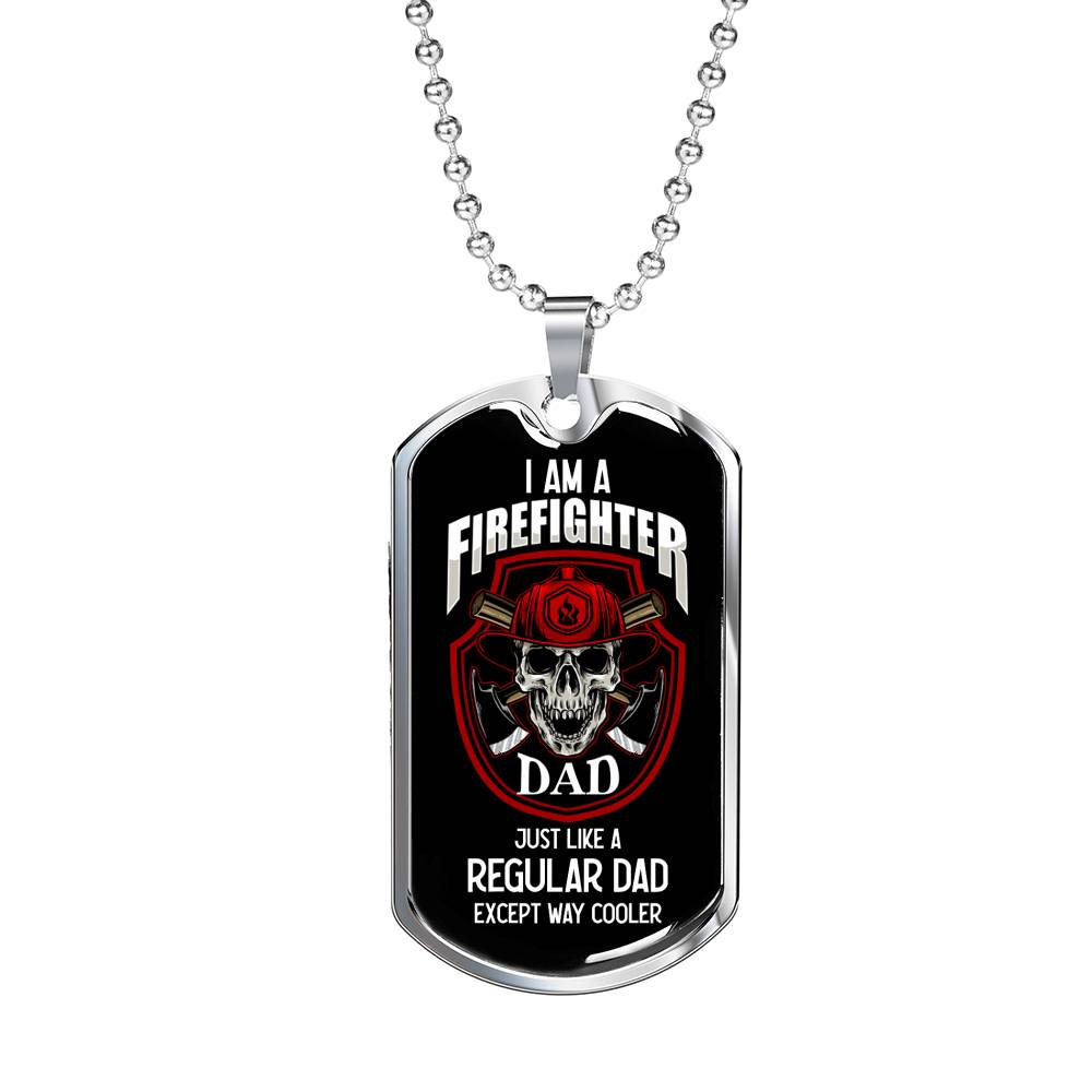 Firefighter Gift, Firefighter Dad Dog Tag Stainless Steel or 18k Gold 24