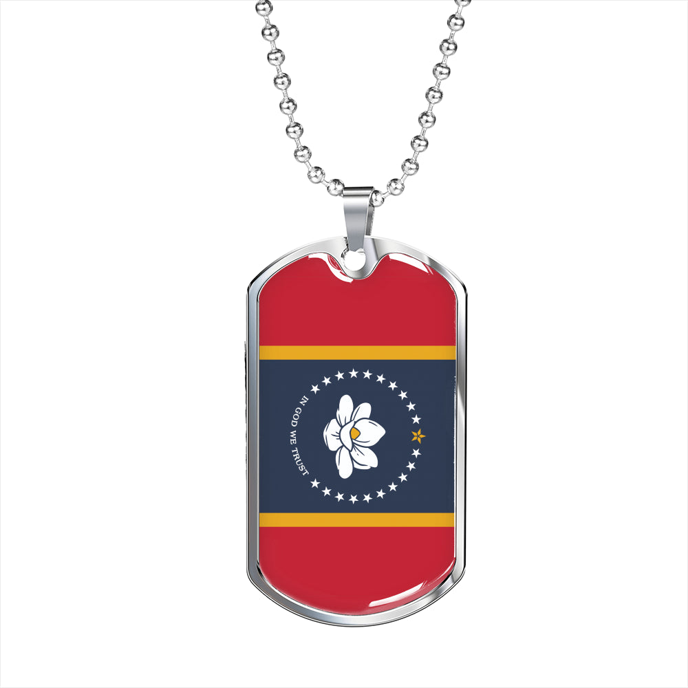 "Mississippi Flag Necklace MS State Flag Stainless Steel or 18k Gold Dog Tag w 24"" - Express Your Love Gifts"