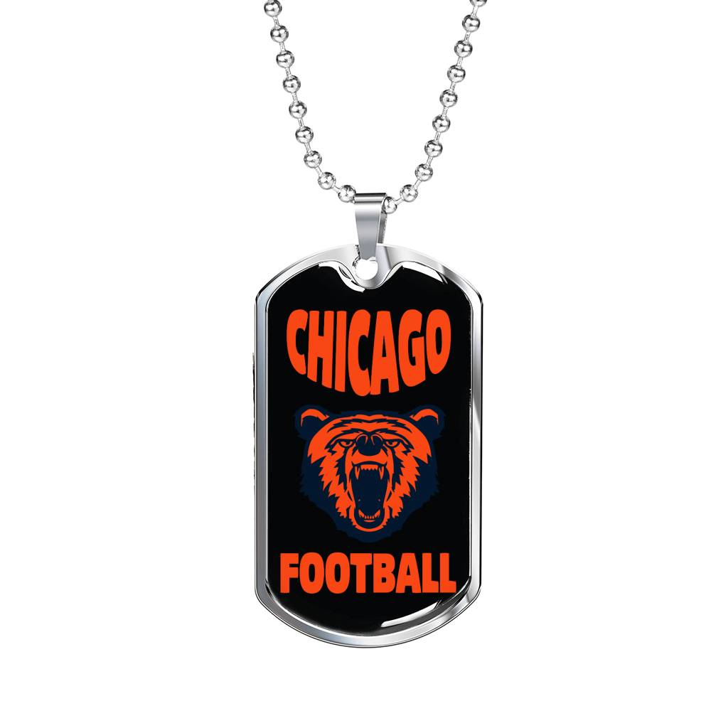 "Chicago Football Fan Necklace, Dog Tag Stainless Steel or 18k Gold Finish 24"" Chain"