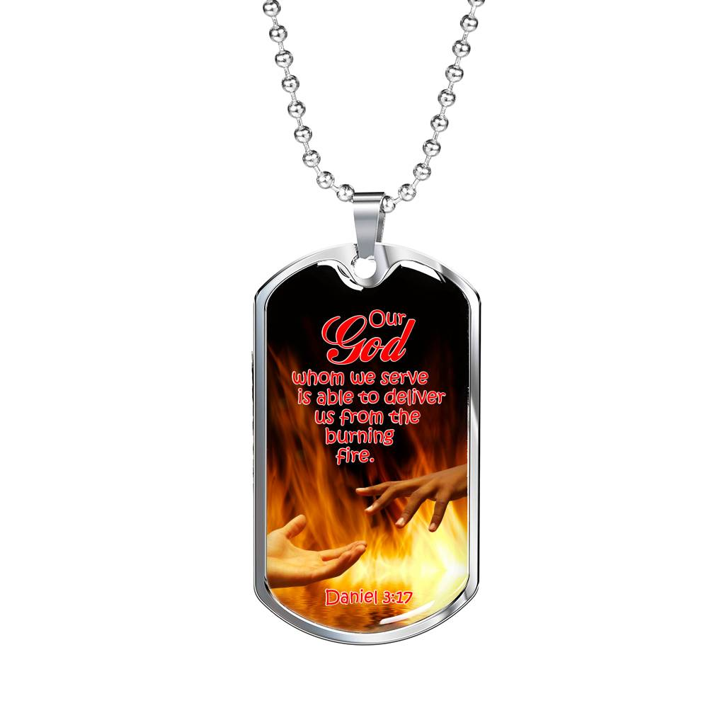 Firefighter Christian Jewelry, God Will Deliver Us! Gift Dog Tag Stainless Steel or 18k Gold 24