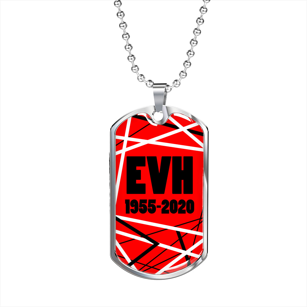 "Eddie Van Halen Tribute Necklace, Red Dog Tag Stainless Steel or 18k Gold 24"" Ball Chain - Express Your Love Gifts"