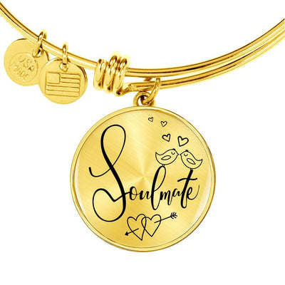Soulmate Stainless Steel or 18k Gold Circle Bangle Bracelet