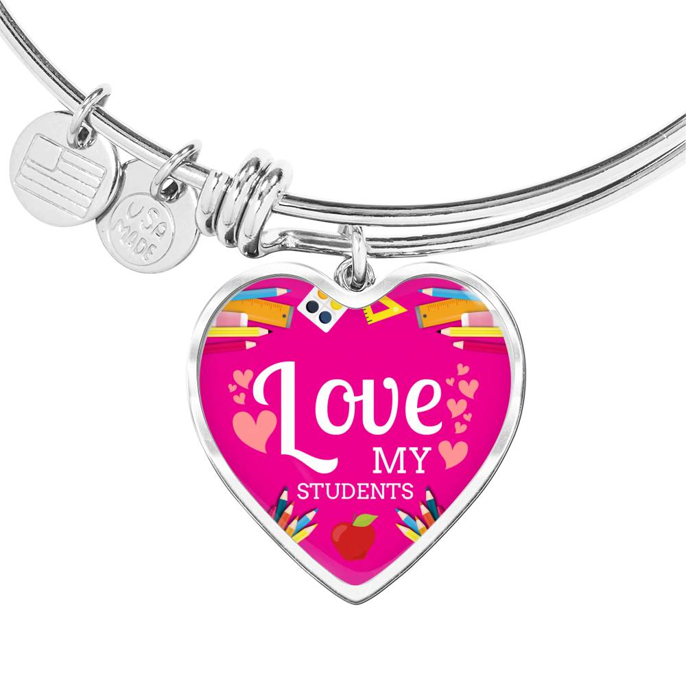 Love my Students Teacher Appreciation Gift Heart Bangle Stainless Steel or 18k Gold 18-22