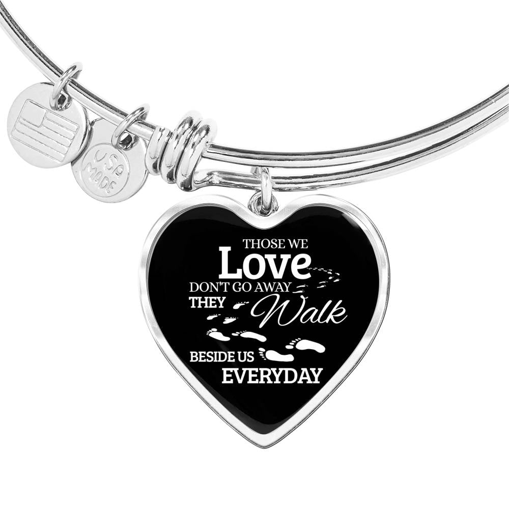 Those We Love Don't Go Away Footprints Heart Bangle Stainless Steel or 18k Gold 18-22