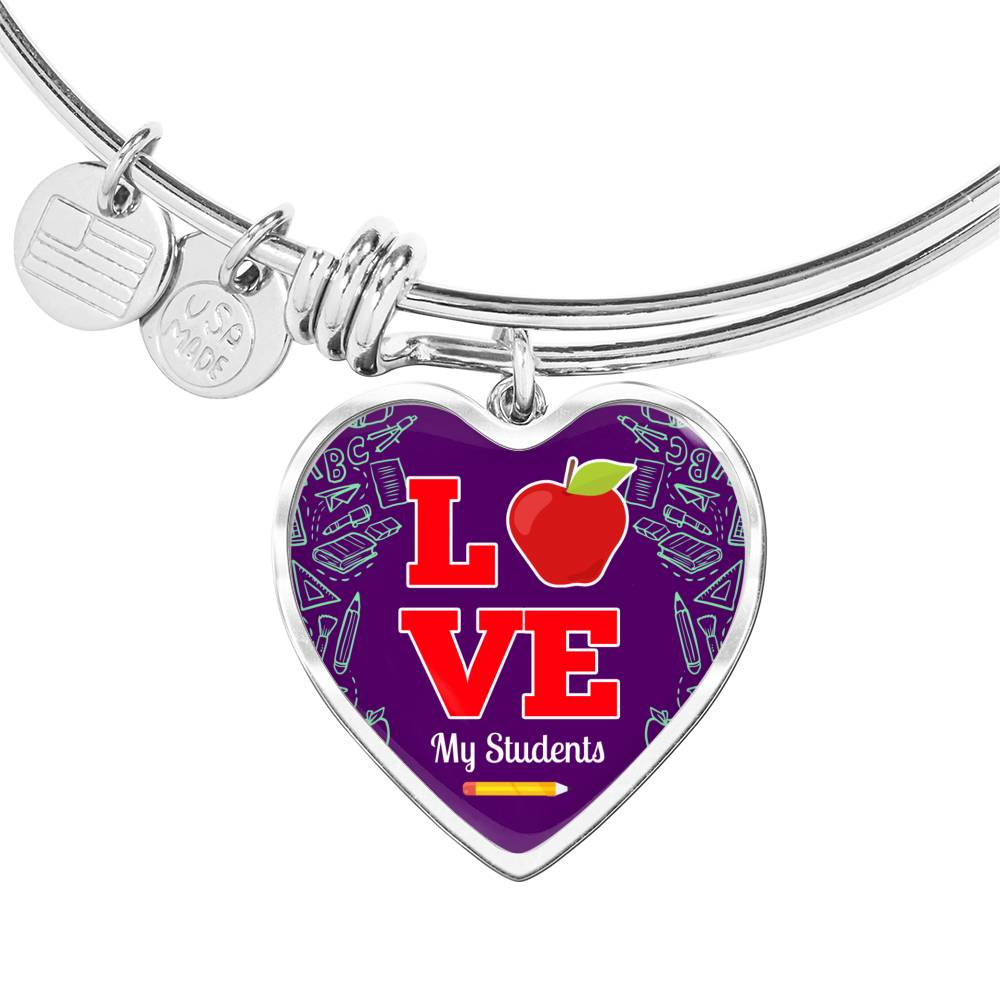 Love my Students Teacher Heart Bangle Stainless Steel or 18k Gold 18-22