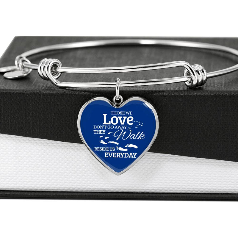 Those We Love Don't Go Away Footprints Stainless Steel Heart Bracelet Bangle