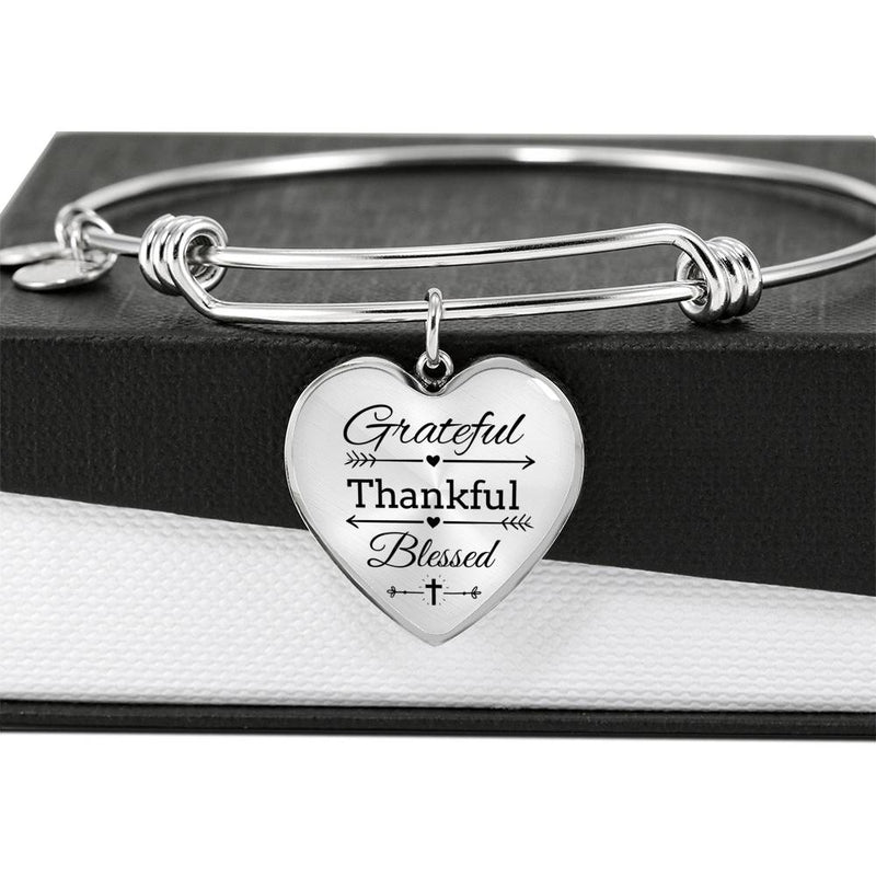 Grateful Thankful Blessed Faith Gear Jewelry Heart Bangle Stainless Steel or 18k Gold 18-22