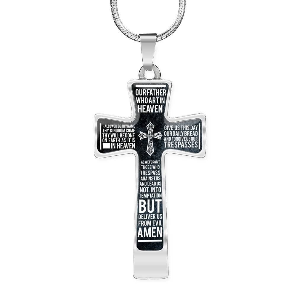 "Lord's Prayer Cross, Our Father Necklace, Stainless Steel 18-22"" Pendant"