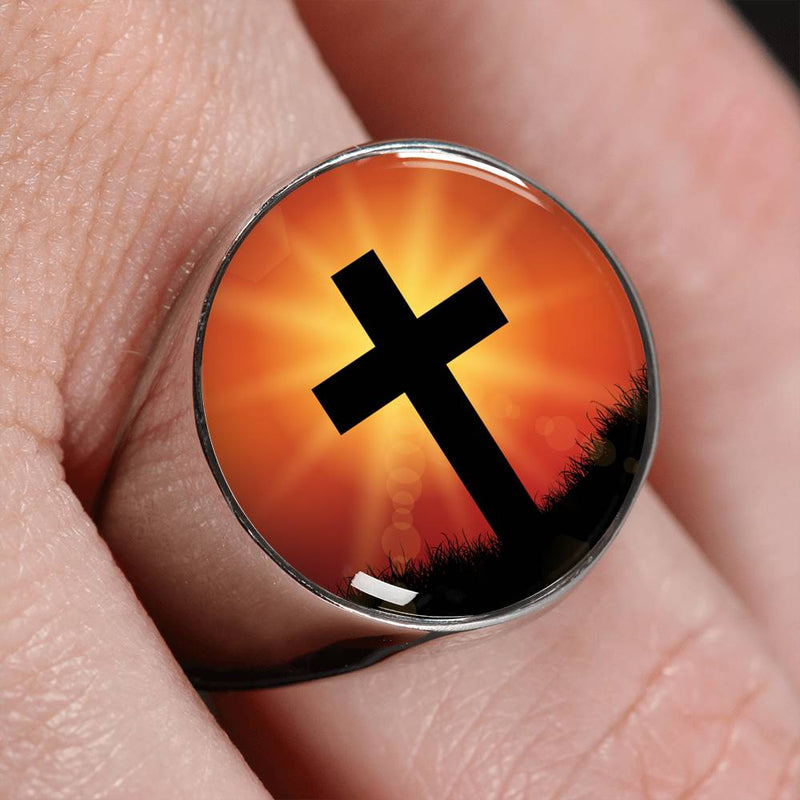 Jesus Died For You Cross Stainless Steel or 18k Gold Circle Signet Ring