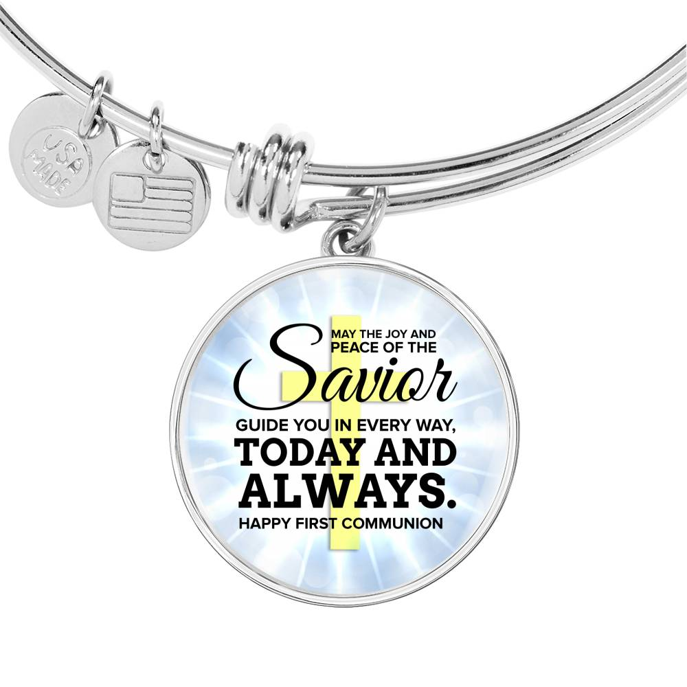 May The Joy and Peace Circle Pendant Bangle Stainless Steel or 18k Gold 18-22