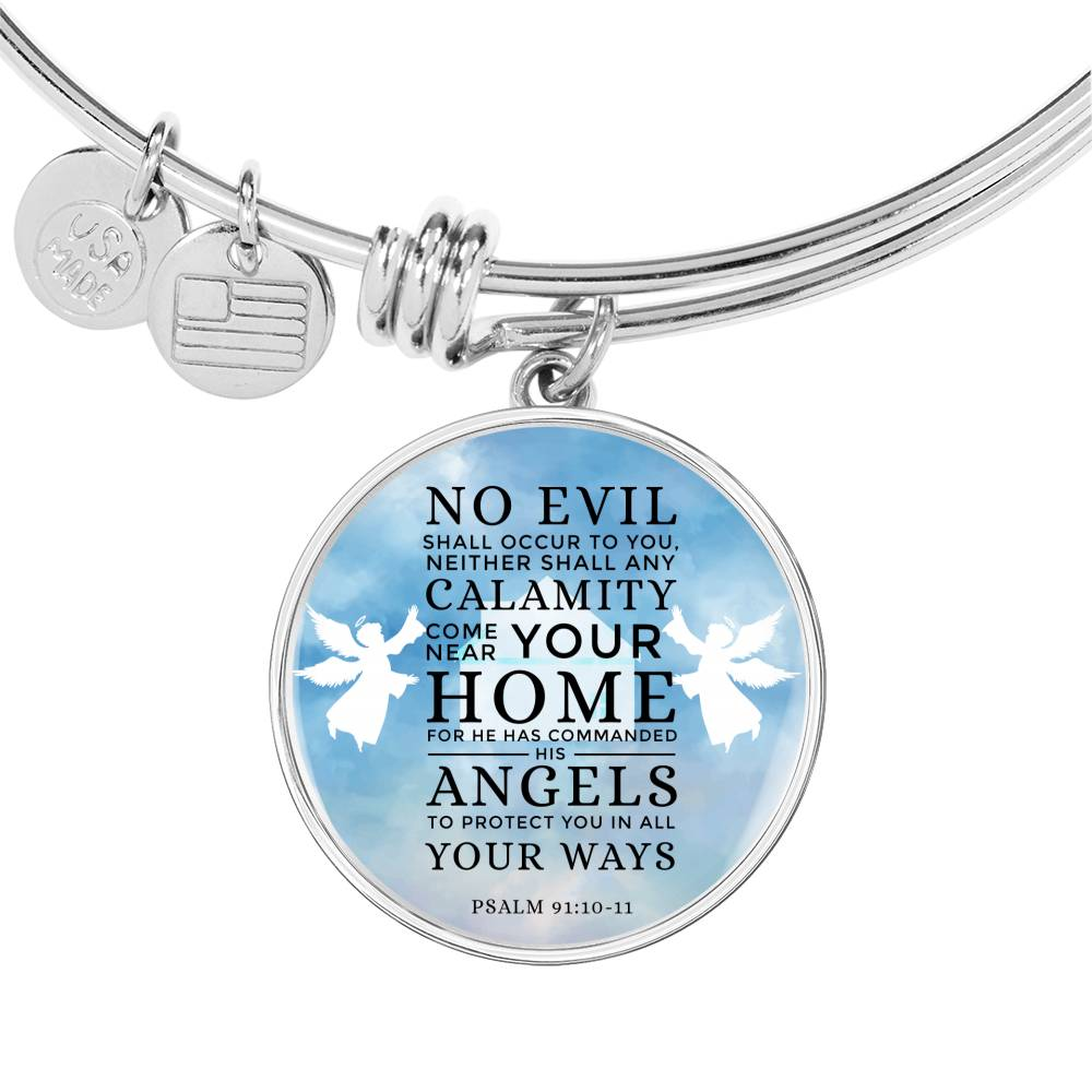 Guardian Angel Psalm 91:10-11 Circle Pendant Bangle Stainless Steel or 18k Gold 18-22