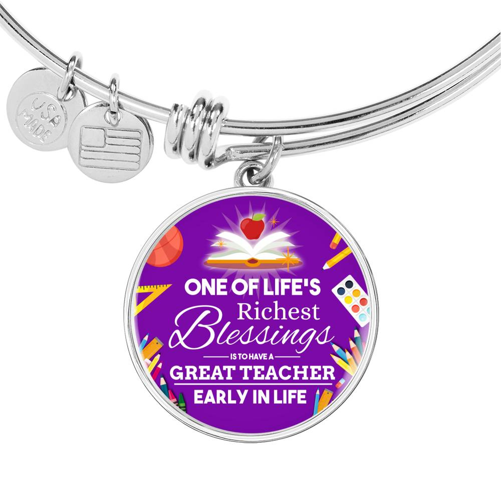 Teacher Appreciation Gift Stainless Steel or 18k Gold Circle Bangle Bracelet
