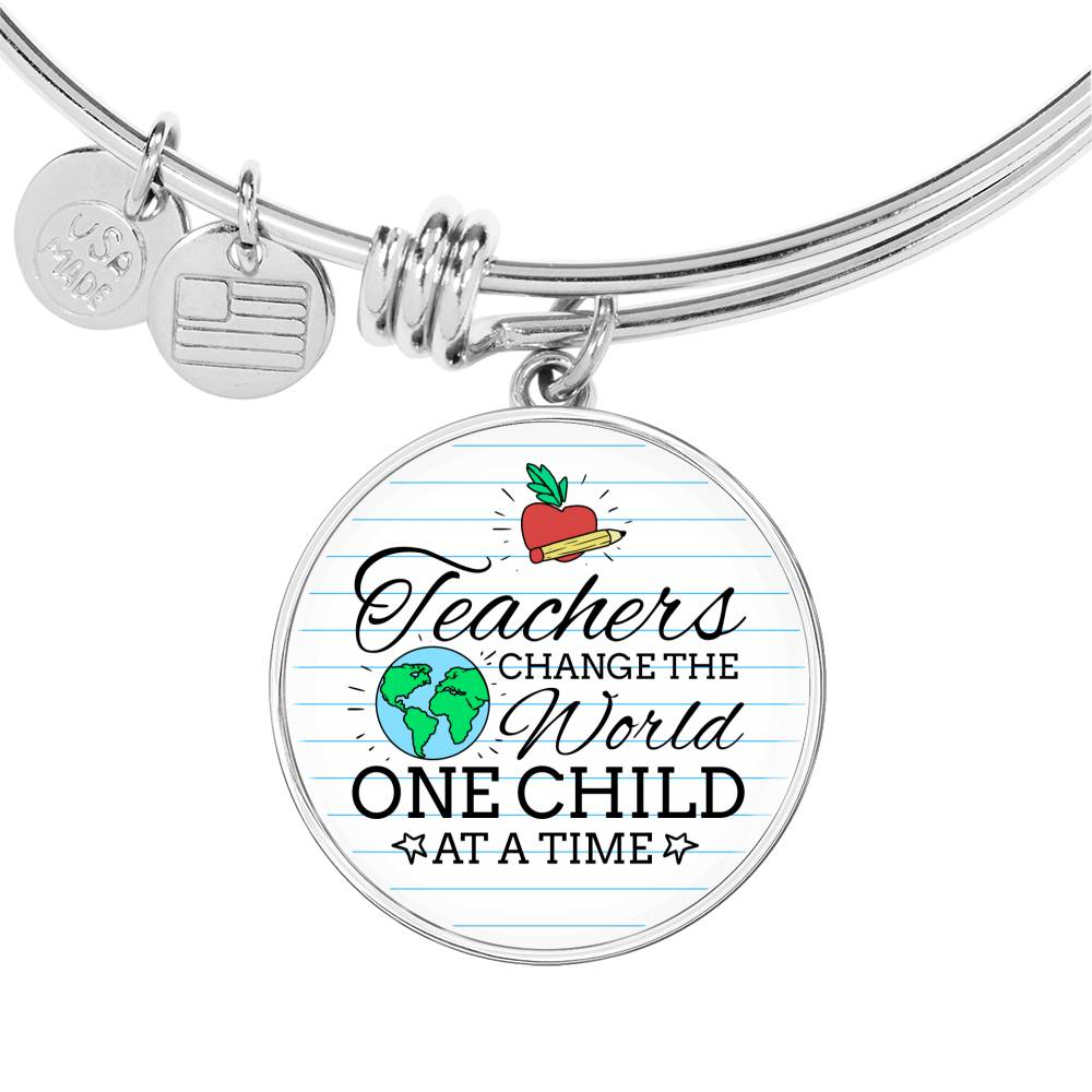 Teacher Appreciation Gift Teachers Change the World Stainless Steel or 18k Gold Circle Bangle Bracelet