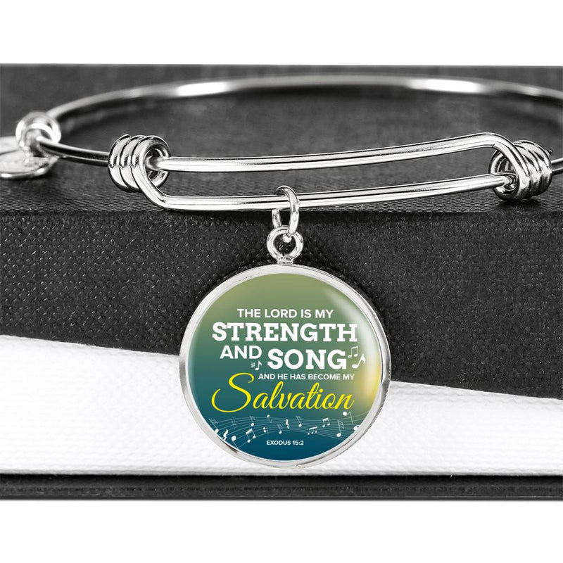 The Lord Is My Strength And Song Scripture Circle Pendant Bangle Stainless Steel or 18k Gold 18-22