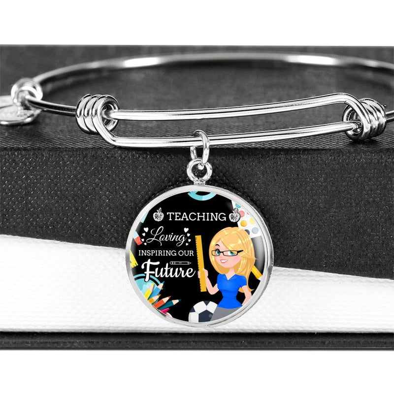 Teaching Loving Inspiring Our Future Teacher Appreciation Gift Stainless Steel or 18k Gold Circle Bangle Bracelet