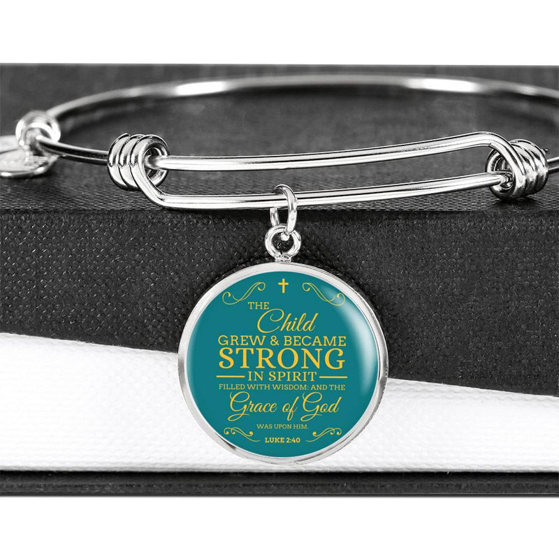 The Child Grew in Spirit Circle Pendant Bangle Stainless Steel or 18k Gold 18-22