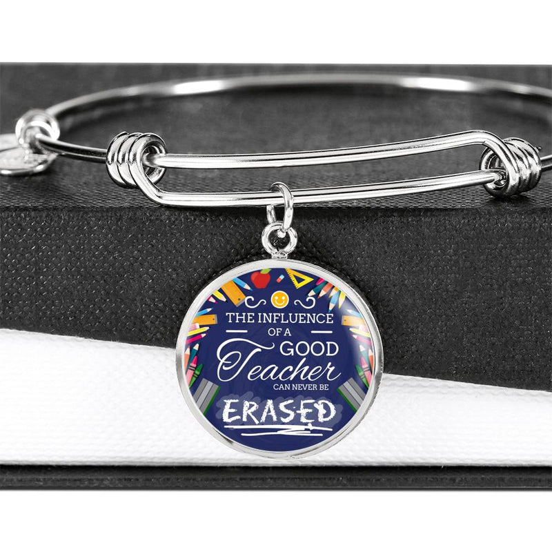 The Influence of a Great Teacher Circle Pendant Bangle Stainless Steel or 18k Gold 18-22