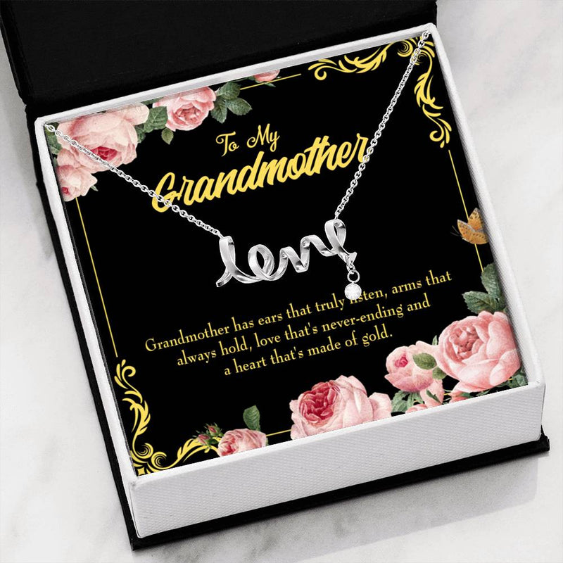 Grandmother Jewelry Gift, Grandmother Heart of Gold, Grandma Mothers Day Keepsake Card, Stainless Steel Necklace, Birthday Gift