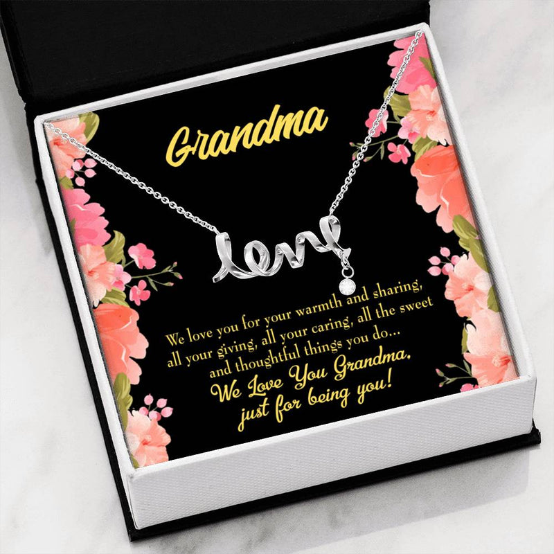 Grandmother Jewelry Gift, Family to Grandma, GrandMother Keepsake Card, Stainless Steel Necklace, Birthday Gift