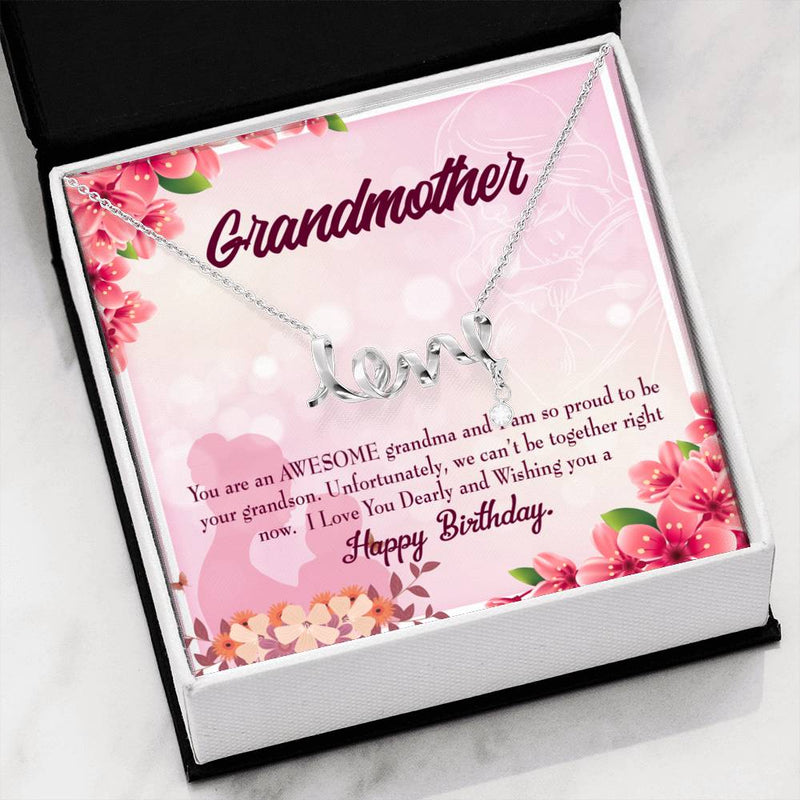 Grandmother Jewelry Gift, Grandma Birthday Gift from Grandson, GrandMother Keepsake Card, Stainless Steel Necklace, Birthday Gift