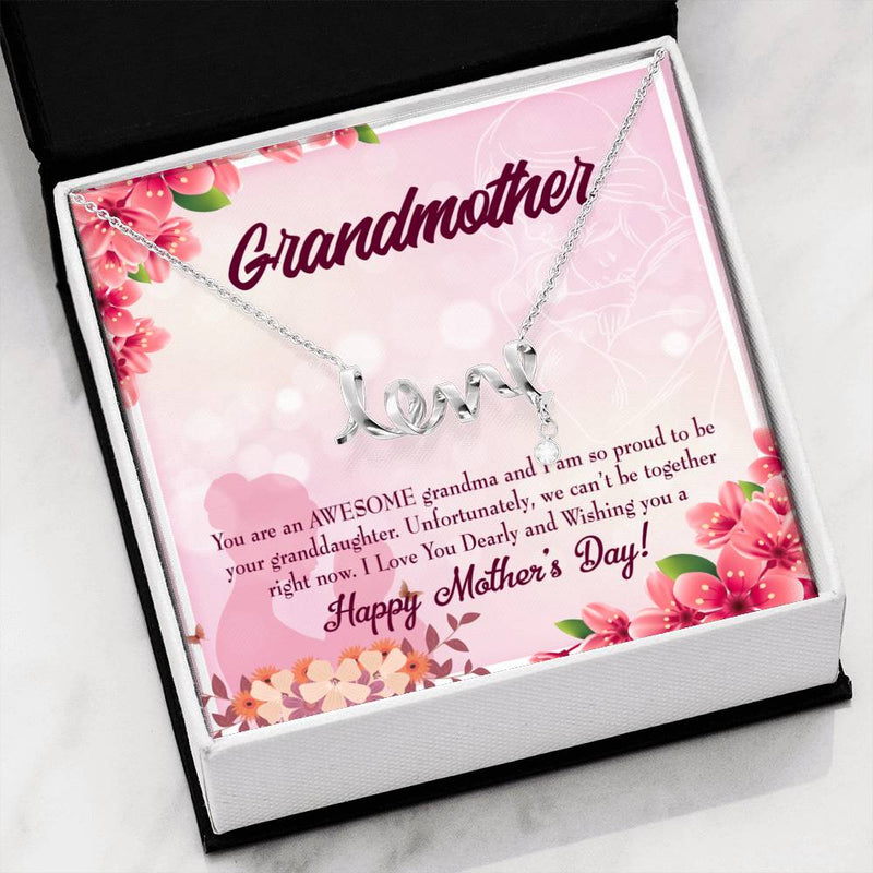 Grandmother Jewelry Gift, Mothers Day Gift from Granddaughter, Grandma Mothers Day Keepsake Card, Stainless Steel Necklace, Birthday Gift